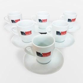 Jogo de Xicaras Porcelana para Café Espresso Modelo Tulipa - 75ml